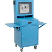 Mobile Security LCD Computer Cabinet Enclosure Complete Bundle, Blue, Unassembled