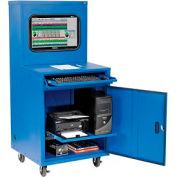 Global Industrial™ Deluxe industriel LCD ordinateur Cabinet, bleu, non assemblé