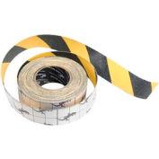 Rouleau de ruban avertisseur de danger rayé jaune/noir à traction, antidérapant,2 po x 60 pieds
