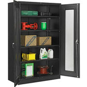 """Global™ Storage Cabinet With Expanded Metal Door Unassembled 48""""W x 24""""D x 78""""H Black"""