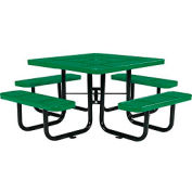 "46"" Square Outdoor Steel Picnic Table - Perforated Metal - Green"