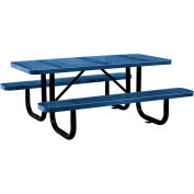 """72"""" Rectangular Perforated Picnic Table, Blue"""