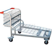 Vestil Nestable Wire Platform Shopping Cart WIRE-L with Handle Basket