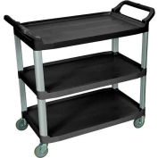 Luxor® SC13B Black 3-Shelf Plastic Serving Utility Cart 300 Lb. Capacity