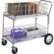 """Wesco® Office & Mail Cart 272231 43x23.75 5"""" Rubber Casters & 10"""" Wheels"""