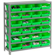 "Global Industrial™ Steel Shelving with 24 4""H Plastic Shelf Bins Green, 36x12x39-7 Shelves"