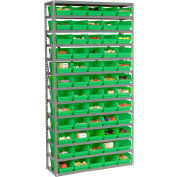 "Steel Shelving with 60 4""H Plastic Shelf Bins Green, 36x12x72-13 Shelves"