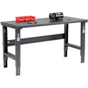 "60""W x 30""D Adjustable Height Workbench C-Channel Leg - Steel Square Edge - Black"
