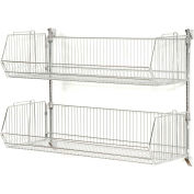 "Wall Mount Basket Kit 48""W x 14""D x 9""H (2 Basket) Chrome"