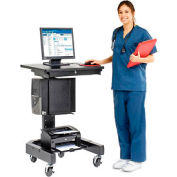 "Medical Computer Cart, 27""W x 24-1/2""D x 41""H, Black"