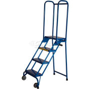 "4 Step 10"" Deep Step Lock-N-Stock Folding Aluminum Ladder - ALS42410"