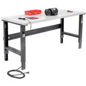 "72""W X 30""D Plastic Laminate Square Edge Workbench - Adjustable Height - Black"