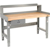 "60"" W x 30"" D Plastic Laminate Safety EdgeTop Workbench with Drawer and Riser"