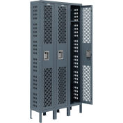 Infinity™ Heavy Duty Ventilated Steel Locker, Single Tier, 3-Wide, 12x18x72, Unassembled, Gray