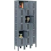 Infinity™ Heavy Duty Ventilated Steel Locker, Six Tier, 3-Wide, 12x12x12, Unassembled, Gray