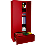 Office Storage Cabinet with File Drawer 30x18x64 Red