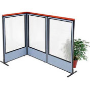 """Deluxe Freestanding 3-Panel Corner Room Divider with Full Window, 36-1/4""""W x 61-1/2""""H, Blue"""