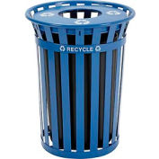 Global Industrial™ Outdoor Steel Recycling Receptacle with Flat Lid - 36 Gallon Blue