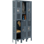 Infinity™ Heavy Duty Ventilated Steel Locker, Double Tier, 3-Wide, 12x18x36, Assembled, Gray