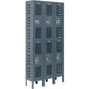 Infinity™ Heavy Duty Ventilated Steel Locker, Double Tier, 3-Wide, 12x18x36, Assembled, Gray
