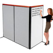 """Deluxe Freestanding 3-Panel Corner Room Divider with Whiteboard, 36-1/4""""W x 73-1/2""""H, Gray"""