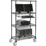 Poste informatique mobile LAN avec fil Nexel™, 36 po l x 18 po P x 69 po H, 4 tablettes, avec plateau à clavier, noir