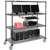 "Nexel™ 4-Shelf Mobile Wire Computer LAN Workstation w/ Keyboard Tray, 60""W x 24""D x 69""H, Black"
