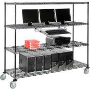 Poste informatique mobile LAN avec fil Nexel™, 72 po l x 24 po P x 69 po H, 4 tablettes, avec plateau à clavier, noir