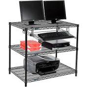 """Nexel™ 3 tablettes fil ordinateur LAN Workstation avec plateau de clavier, W 36"""" x 24 «P x 34» H, noir"""