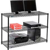 "Nexel™ 3-Shelf Wire Computer LAN Workstation, 48""W x 18""D x 34""H, Black"