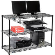 "Nexel™ 3-Shelf Wire Computer LAN Workstation with Keyboard Tray, 48""W x 18""D x 34""H, Black"