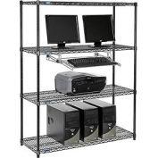 """Nexel™ 4 tablettes fil ordinateur LAN Workstation avec plateau de clavier, W 48"""" x 18 «P x 63» H, noir"""