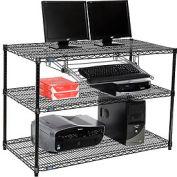 """Nexel™ 3 tablettes fil ordinateur LAN Workstation avec plateau de clavier, W 48"""" x 24 «P x 34» H, noir"""