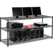 """Nexel™ 3-étagère fil LAN poste informatique, 72"""" W x 24 H «D x 34», noir"""