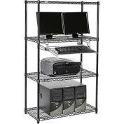 """Nexel™ 4 tablettes fil ordinateur LAN Workstation avec plateau de clavier, W 36"""" x 18 «P x 63» H, noir"""