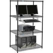"""Nexel™ 4 tablettes fil ordinateur LAN Workstation avec plateau de clavier, W 36"""" x 24 «P x 63» H, noir"""