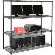 """Nexel™ 4-étagère fil LAN poste informatique, 60"""" W x 24 H «D x 63», noir"""