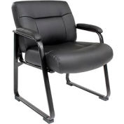 Big and Tall Waiting Room Chair - Leather - High Back - Black