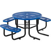 "46"" Wheelchair Accessible Round Picnic Table, Expanded Metal, Blue"
