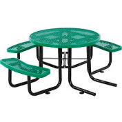 "46"" Wheelchair Accessible Round Outdoor Steel Picnic Table - Expanded Metal - Green"