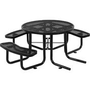 "46"" Wheelchair Accessible Round Outdoor Steel Picnic Table - Expanded Metal - Black"