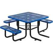 "46"" Wheelchair Accessible Square Expanded Metal Picnic Table, Blue"