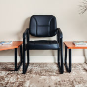 Interion® Antimicrobial Synthetic Leather Reception Chair - Black