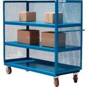 Modern Equipment MECO 3S1836-2R-B 3-Sided Steel Mesh Service Truck 36x18 2 Shelves Blue