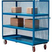 Modern Equipment MECO 3S2460-4R-B 3-Sided Steel Mesh Service Truck 60x24 4 Shelves Blue