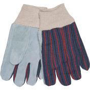Memphis® Clute Pattern Leather Palm Gloves with Knit Wrist, Size L, 1 Dozen