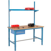 "60""W x 30""D Production Workbench - Shop Top Square Edge with Drawer, Upright & Shelf - Blue"