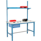 """60""""W x 36""""D Production Workbench - ESD Laminate Square Edge with Drawer, Upright & Shelf - Blue"""