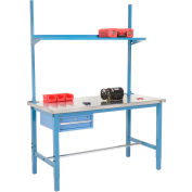 "72"" W x 30"" D Production Workbench - inox avec tiroir, Upright & plateau - bleu"