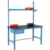 """72"""" W x 36"""" D Production Workbench - résine phénolique barre palpeuse avec tiroir, Upright & plateau - bleu"""